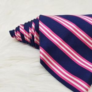 Brooks Brothers Accessories - Brooks Brothers Navy Blue & Pink Striped Silk Tie